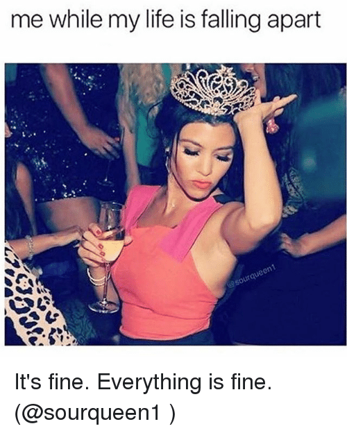 Life, Girl Memes, and Fine: me while my life is falling apart It's fine. Everything is fine. (@sourqueen1 )