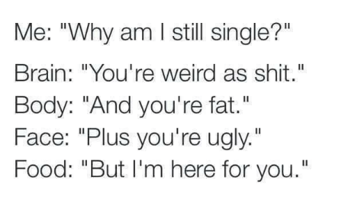 """Food, Memes, and Shit: Me: """"Why am I still single?""""  Brain: """"You're weird as shit.""""  Body: """"And you're fat.""""  Face: """"Plus you're ugly.""""  Food: """"But I'm here for you."""""""