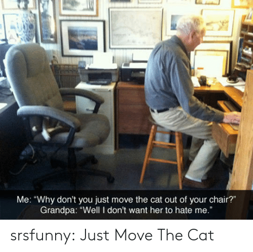 """Tumblr, Grandpa, and Blog: Me: """"Why don't you just move the cat out of your chair?""""  Grandpa: """"Well I don't want her to hate me."""" srsfunny:  Just Move The Cat"""