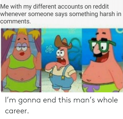 Reddit, Harsh, and Man: Me with my different accounts on reddit  whenever someone says something harsh in  comments. I'm gonna end this man's whole career.