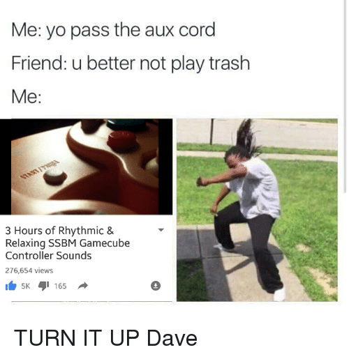 Dank, Friends, and Trash: Me: yo pass the aux cord  Friend: u better not play trash  Me  3 Hours of Rhythmic &  Relaxing SSBM Gamecube  Controller Sounds  276,654 views  5K 165 TURN IT UP Dave