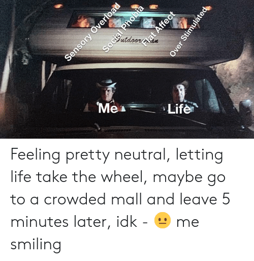 Life, Neutral, and Feeling: Mea  Life Feeling pretty neutral, letting life take the wheel, maybe go to a crowded mall and leave 5 minutes later, idk - 😐 me smiling