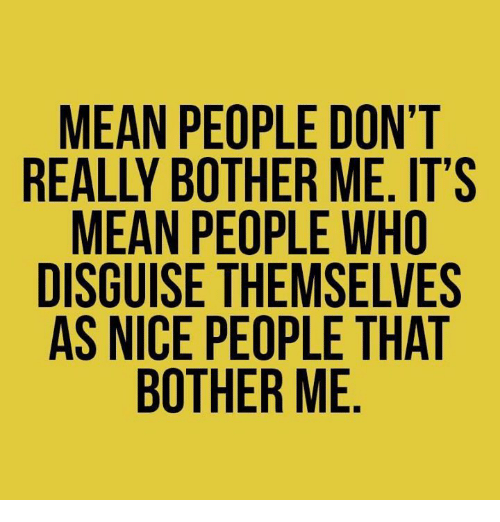 Dank, Mean, and Nice: MEAN PEOPLE DON'T  REALLY BOTHER ME. IT'S  MEAN PEOPLE WHO  DISGUISE THEMSELVES  AS NICE PEOPLE THAT  BOTHER ME