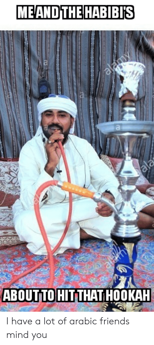 Friends, Funny, and Hookah: MEAND THE HABIBIS  alamy  ala  aldmy  ABOUTTO HIT THAT HOOKAH I have a lot of arabic friends mind you