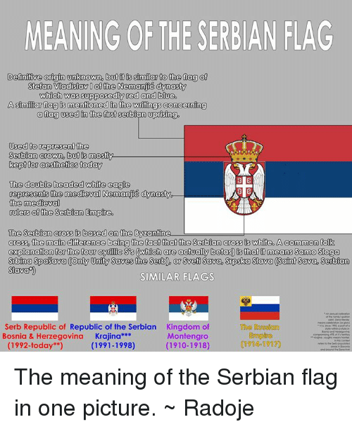 "Dank, Definitely, and Empire: MEANING OF THE SERBIAN FLAG  Definitive origin unknown, but it similar to the fag of  Stefan Vadisav of the Nemanjic dynasty  which was supposedly red and blue.  Asimiliar flag mentioned in the writingsconcerning  a fag used in the first serbian uprising.  Used to represent the  Serbian Crown, but is mostly.  kept for aesthetics today  The double headed white eagle  3 B  represents the medieval Nemanjic dynasty  the medieval  rulers of the Serbian Empire.  The Serbian cross is based on the Byzantine  Cross, the main difference being the fact that the Serbian cross is white. A common folk  explanation for the four cynilic Scs (which are actually betas) is that it means Samo Soga  Sbina Spasava Only Unity Saves the Serb, or Sveti Sava, Spska Sava (Saint Sava Serbian  SIava  SIMILAR FLAGS  Serb Republic of Republic of the Serbian Kingdom of  The Russian  Bosnia & Herzegovina  Krajina  Montengro  (1914 1917)  (1992-today"")  (1910-1918)  (1991-1998) The meaning of the Serbian flag in one picture.  ~ Radoje"