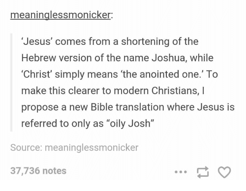 Meaninglessmonicker Jesus' Comes From a Shortening of the