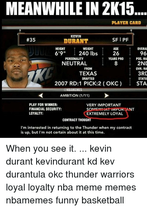 ac5071a6621f MEANWHILE IN 2K15 PLAYER CARD KEVIN SFI PF  35 DURANT AGE OVERAL ...