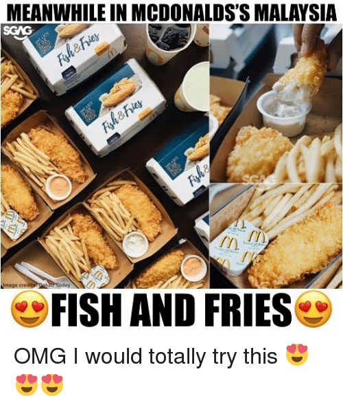 Memes, Omg, and Fish: MEANWHILE IN MCDONALDS'S MALAYSIA  Image cred  FISH AND FRIES OMG I would totally try this 😍😍😍