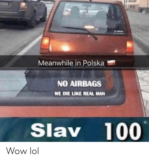Lol, Wow, and Slav: Meanwhile in Polska  NO AIRBAGS  WE DIE LIKE REAL MAN  Slav 100 Wow lol