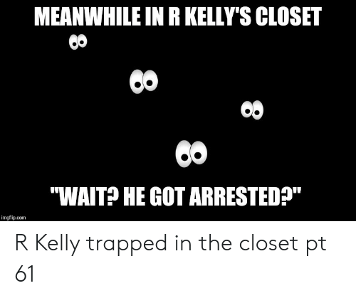 """R. Kelly, Reddit, and Got: MEANWHILE IN R KELLY'S CLOSET  """"WAIT? HE GOT ARRESTED?""""  imgflip.com  8 R Kelly trapped in the closet pt 61"""