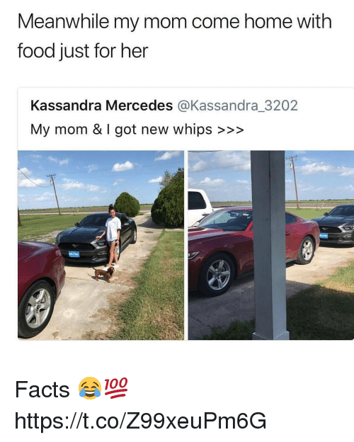 Facts, Food, and Memes: Meanwhile my mom come home with  food just for her  Kassandra Mercedes @Kassandra_3202  My mom & I got new whips >>> Facts 😂💯 https://t.co/Z99xeuPm6G