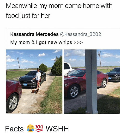 Facts, Food, and Memes: Meanwhile my mom come home with  food just for her  Kassandra Mercedes @Kassandra.3202  My mom & I got new whips >»> Facts 😂💯 WSHH