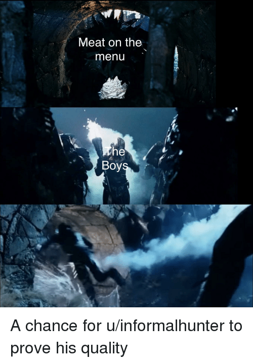 Lord of the Rings, Boys, and Meat: Meat on the  menu  Boys