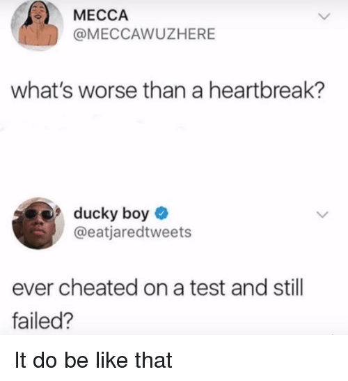 Be Like, Test, and Boy: MECCA  @MECCAWUZHERE  what's worse than a heartbreak?  ducky boy  @eatjaredtweets  ever cheated on a test and still  failed? It do be like that