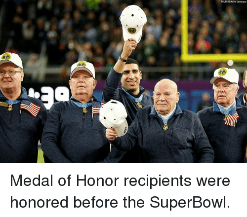Memes, Superbowl, and 🤖: Medal of Honor recipients were honored before the SuperBowl.