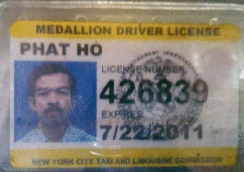 New York, Taxi, and New York City: MEDALLION DRIVER LICENSE  PHAT HO  LIC  426839  7/22/201  EX  NEW YORK CITY TAXİ AND LIMOUSINE COMMİSSİON