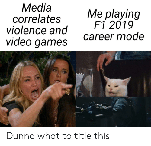 Media Correlates Violence and Video Games Me Playing F1 2019