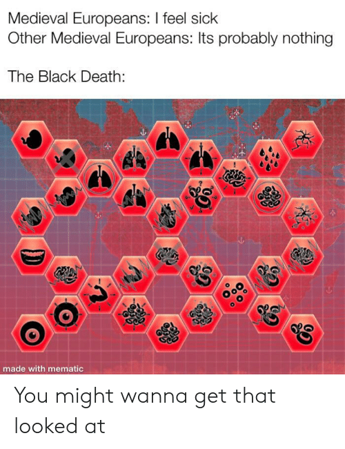 Black, Death, and Medieval: Medieval Europeans: I feel sick  Other Medieval Europeans: Its probably nothing  The Black Death  made with mematic You might wanna get that looked at