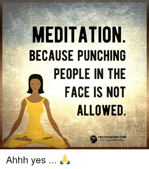 Memes, Meditation, and Mind: MEDITATION  BECAUSE PUNCHING  PEOPLE IN THE  FACE IS NOT  ALLOWED  TRUTHTHEORY.COM  KEEP YOUR MIND OPEN Ahhh yes ... 🙏