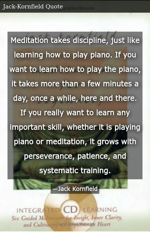 Meditation Takes Discipline Just Like Learning How to Play
