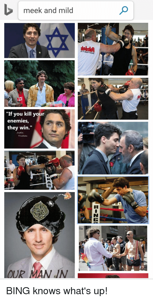 """Bing, Mild, and Enemies: meek and mild  """"If you kill your  enemies  they win.""""  Justin  Trudeaeu  aton BING knows what's up!"""