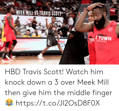 Meek Mill, Memes, and Travis Scott: MEEK MILL VS TRAVIS SCOTT  OWN WEEKEND HBD Travis Scott!   Watch him knock down a 3 over Meek Mill then give him the middle finger 😂   https://t.co/Jl2OsD8F0X