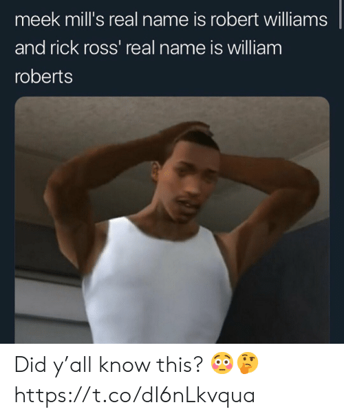 Rick Ross, Meek Mills, and Ross: meek mill's real name is robert williams  and rick ross' real name is william  roberts Did y'all know this? 😳🤔 https://t.co/dI6nLkvqua