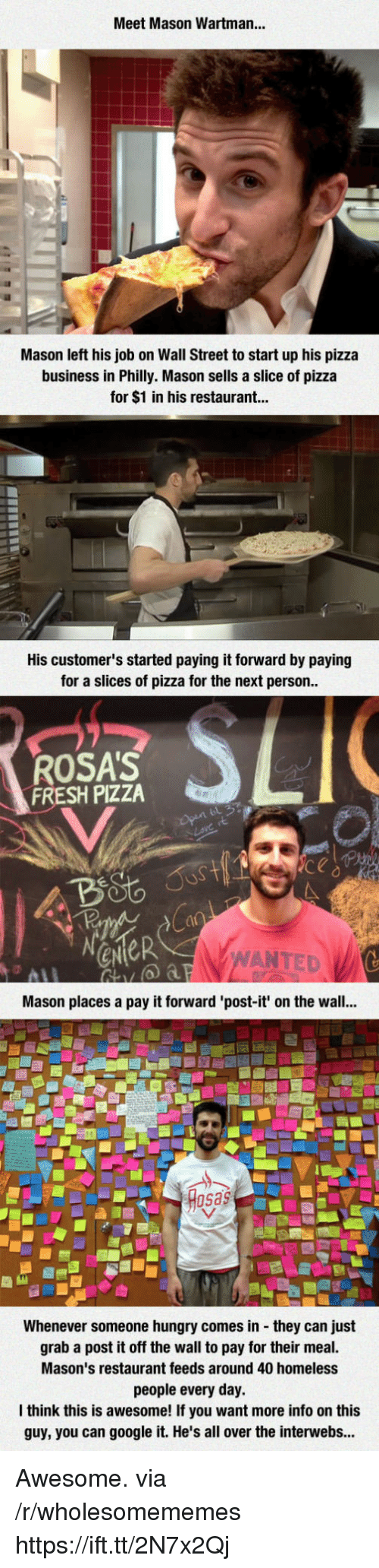 Fresh, Google, and Homeless: Meet Mason Wartman...  Mason left his job on Wall Street to start up his pizza  business in Philly. Mason sells a slice of pizza  for $1 in his restaurant...  His customer's started paying it forward by paying  for a slices of pizza for the next person  ROSA'S  FRESH PIZZA  ANTED  Mason places a pay it forward 'post-it' on the wall...  sas  Whenever someone hungry comes in they can just  grab a post it off the wall to pay for their meal.  Mason's restaurant feeds around 40 homeless  people every day.  think this is awesome! If you want more info on this  guy, you can google it. He's all over the interwebs... Awesome. via /r/wholesomememes https://ift.tt/2N7x2Qj