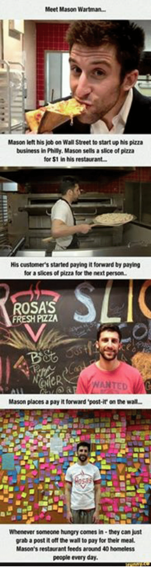 Homeless, Hungry, and Pizza: Meet Mason Wartman...  Mason left his job on Wall Street to start up his pizza  business in Philly, Mason sells a slice of pizza  for $1 in his restaurant  His customer's started paying it forward by paying  for a slices of pizza for the next person.  OSAS  PizZA  Mason places a payit forward post-it' on the wall-  Whenever someone hungry comes in- they can just  grab a postitoff the wall topay for their meal.  Mason's restaurant feeds around 40 homeless  people every day.
