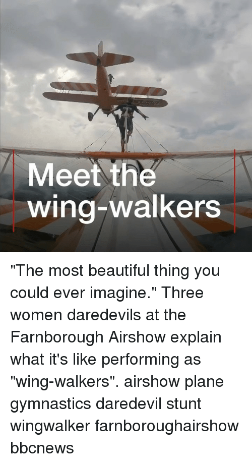"Beautiful, Memes, and Daredevil: Meet the  wing-walkers ""The most beautiful thing you could ever imagine."" Three women daredevils at the Farnborough Airshow explain what it's like performing as ""wing-walkers"". airshow plane gymnastics daredevil stunt wingwalker farnboroughairshow bbcnews"