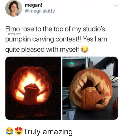 Megan Elmo Rose To The Top Of My Studio S Pumpkin Carving