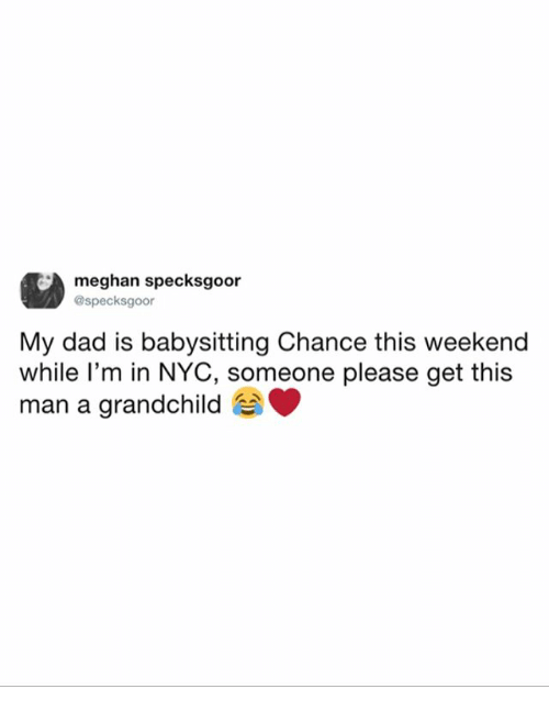 Dad, Memes, and 🤖: meghan specksgoor  @specksgoor  My dad is babysitting Chance this weekend  while I'm in NYC, someone please get this  man a grandchild C