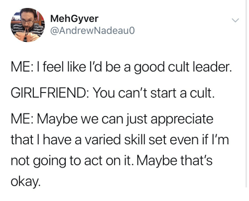 Appreciate, Good, and Okay: MehGyver  @AndrewNadeauo  ME: I feel like I'd be a good cult leader  GIRLFRIEND: You can't start a cult  ME: Maybe we can just appreciate  that I have a varied skill set even if I'm  not going to act on it. Maybe that's  Okay