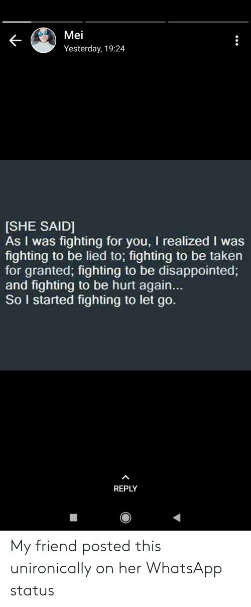 Mei Yesterday 1924 She Said As I Was Fighting For You I