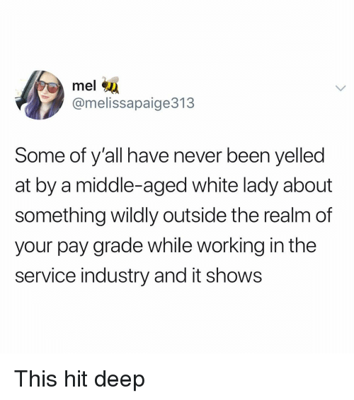 Funny, White, and Never: mel  @melissapaige313  Some of y'all have never been yelled  at by a middle-aged white lady about  something wildly outside the realm of  your pay grade while working in the  service industry and it shows This hit deep