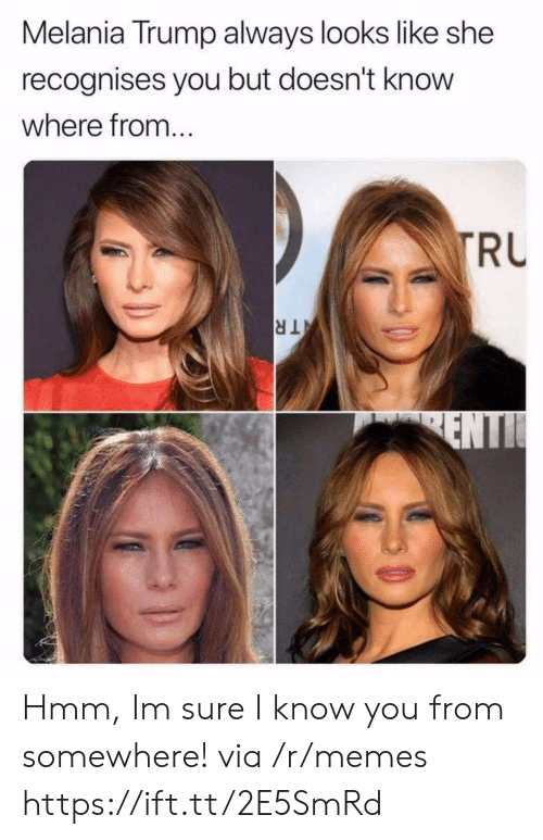 Melania Trump, Memes, and Trump: Melania Trump always looks like she  recognises you but doesn't know  where from..  RU Hmm, Im sure I know you from somewhere! via /r/memes https://ift.tt/2E5SmRd