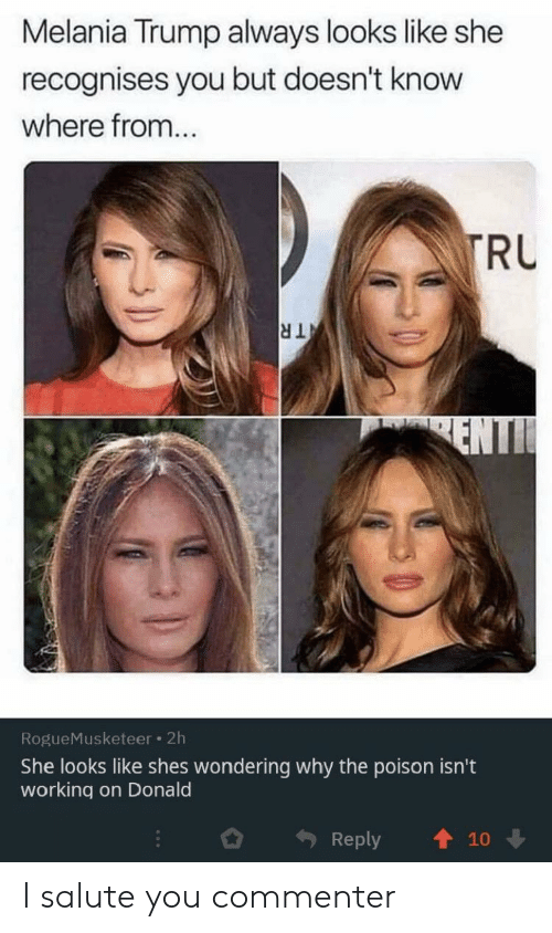 Melania Trump, Trump, and Working: Melania Trump always looks like she  recognises you but doesn't know  where from...  TRU  TR  ENTI  RogueMusketeer 2h  She looks like shes wondering why the poison isn't  working on Donald  Reply  10 I salute you commenter