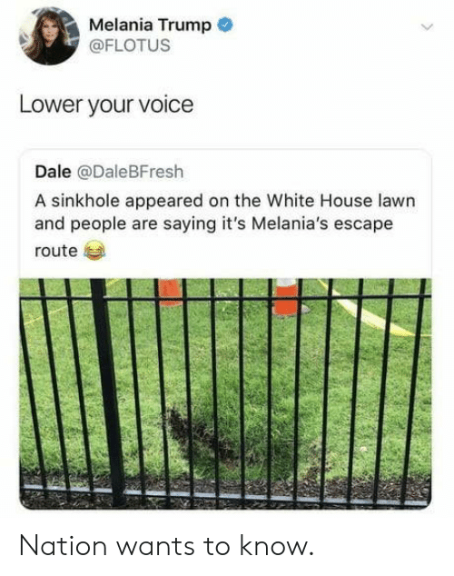 Melania Trump, White House, and House: Melania Trump  @FLOTUS  Lower your voice  Dale @DaleBFresh  A sinkhole appeared on the White House lawn  and people are saying it's Melania's escape  route Nation wants to know.