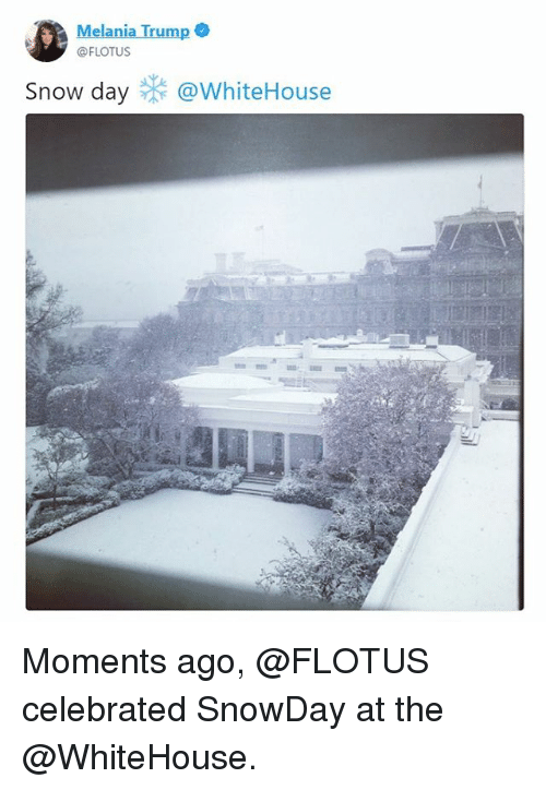 Melania Trump, Memes, and Snow: Melania Trump  @FLOTUS  Snow day @whiteHouse Moments ago, @FLOTUS celebrated SnowDay at the @WhiteHouse.