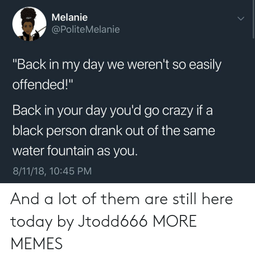 "Crazy, Dank, and Memes: Melanie  @PoliteMelanie  ""Back in my day we weren't so easily  offended!""  Back in your day you'd go crazy if a  black person drank out of the same  water fountain as you.  8/11/18, 10:45 PM And a lot of them are still here today by Jtodd666 MORE MEMES"