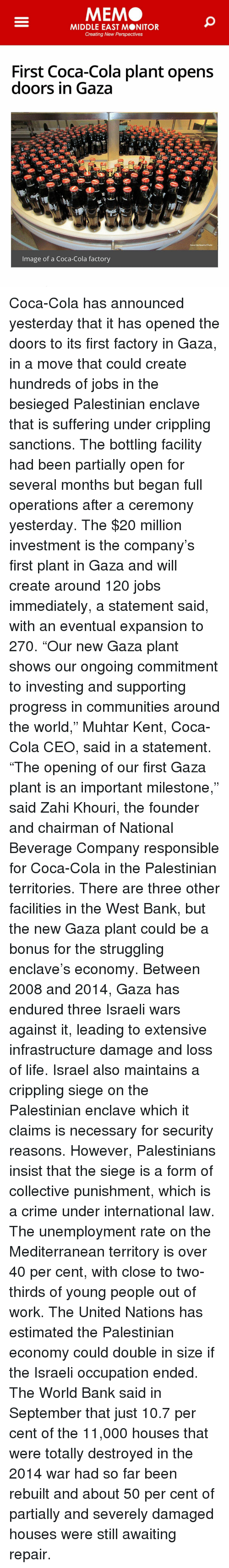 MEM MIDDLE EAST MONITOR Creating New Perspectives First Coca-Cola ...