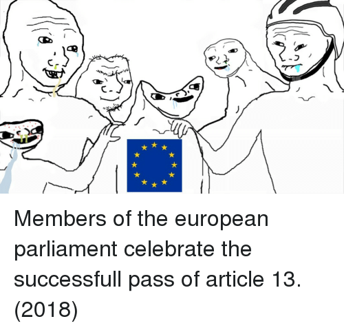 Article, Parliament, and European: Members of the european parliament celebrate the successfull pass of article 13. (2018)