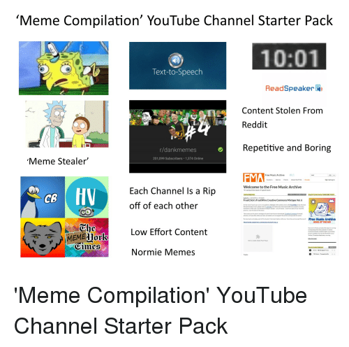 Meme Compilation' YouTube Channel Starter Pack 1001 Text-To