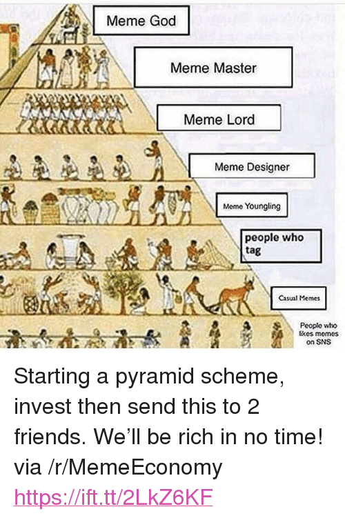 """Friends, God, and Meme: Meme God  Meme Master  Meme Lord  Meme Designer  Meme Youngling  people who  tag  Casual Memes  Pooplo who  tkes memes  on SNS <p>Starting a pyramid scheme, invest then send this to 2 friends. We'll be rich in no time! via /r/MemeEconomy <a href=""""https://ift.tt/2LkZ6KF"""">https://ift.tt/2LkZ6KF</a></p>"""