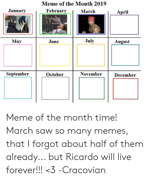 Meme of the Month 2019 January February March April May June