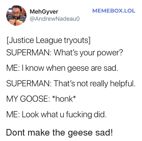 Fucking, Lol, and Superman: MEMEBOX.LOL  MehGyver  @AndrewNadeauo  [Justice League tryouts]  SUPERMAN: What's your power?  ME: I know when geese are sad  SUPERMAN: That's not really helpful  MY GOOSE: *honk*  ME: Look what u fucking did. Dont make the geese sad!
