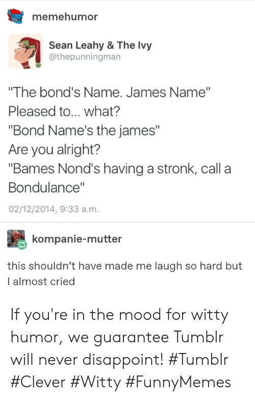 """Mood, Tumblr, and Never: memehumor  Sean Leahy & The Ivy  @thepunningman  """"The bond's Name. James Name""""  Pleased to... what?  """"Bond Name's the james""""  Are you alright?  """"Bames Nond's having a stronk, call a  Bondulance""""  02/12/2014, 9:33 a.m.  kompanie-mutter  this shouldn't have made me laugh so hard but  l almost cried If you're in the mood for witty humor, we guarantee Tumblr will never disappoint! #Tumblr #Clever #Witty #FunnyMemes"""