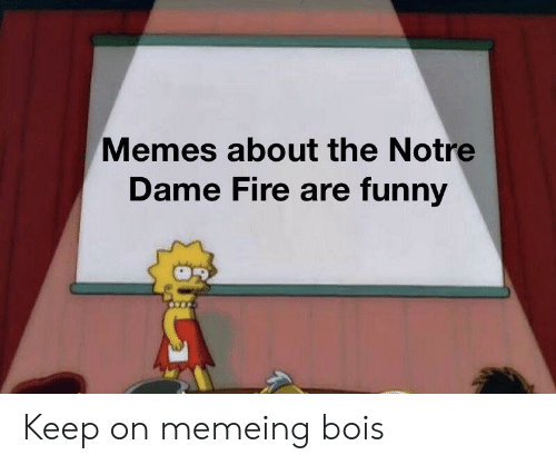 Fire, Funny, and Memes: Memes about the Notre  Dame Fire are funny Keep on memeing bois