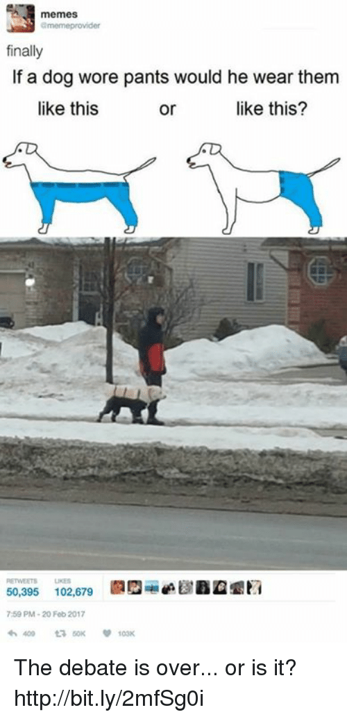 Memes, 🤖, and Dog: memes  finally  If a dog wore pants would he wear them  like this?  like this  or  50,395 102,679  7:59 PM-20 Feb 2017 The debate is over... or is it? http://bit.ly/2mfSg0i