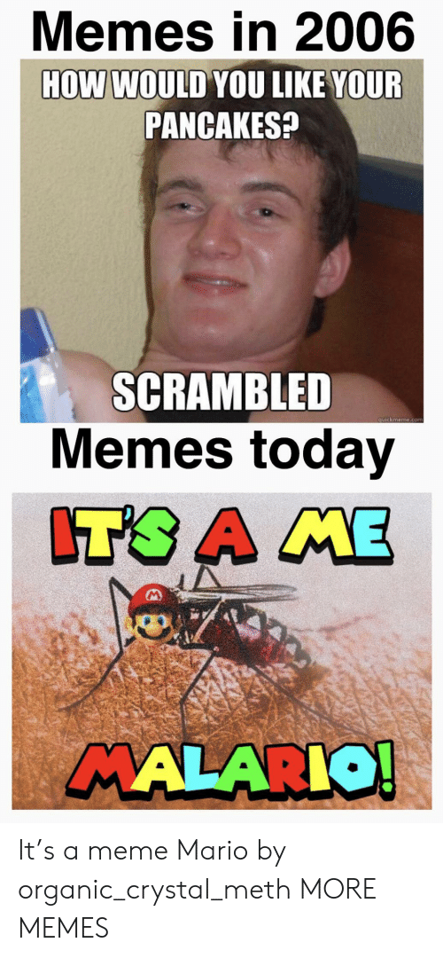 Dank, Meme, and Memes: Memes in 2006  HOW WOULD YOU LIKE YOUR  PANCAKES?  SCRAMBLED  Memes today  quickmeme.com  IT'S A ME  MALARIO! It's a meme Mario by organic_crystal_meth MORE MEMES